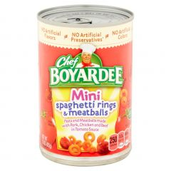 Chef Boyardee Soup Mini Spagetti Rings and Meatballs made with Chicken, Beef and Pork