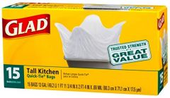 Diamond Tall White Kitchen Bags 13 Gallons With 15 Bags